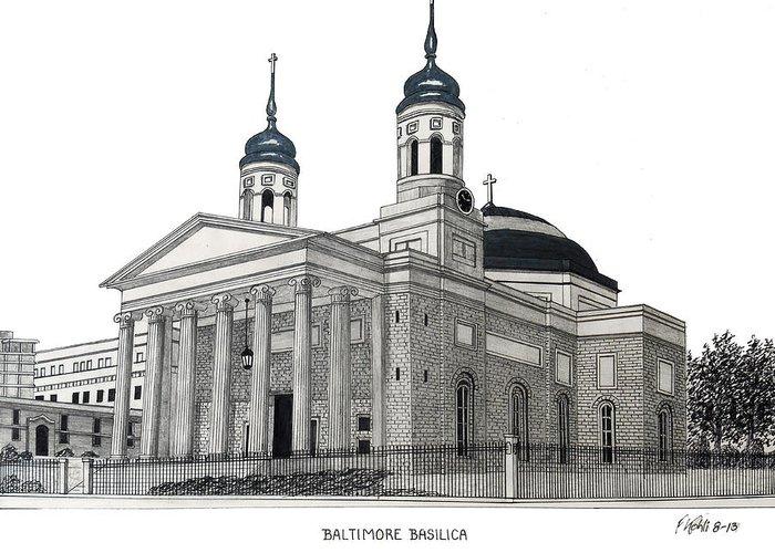 Baltimore Basilica Ink Drawing Greeting Card featuring the drawing Baltimore Basilica by Frederic Kohli