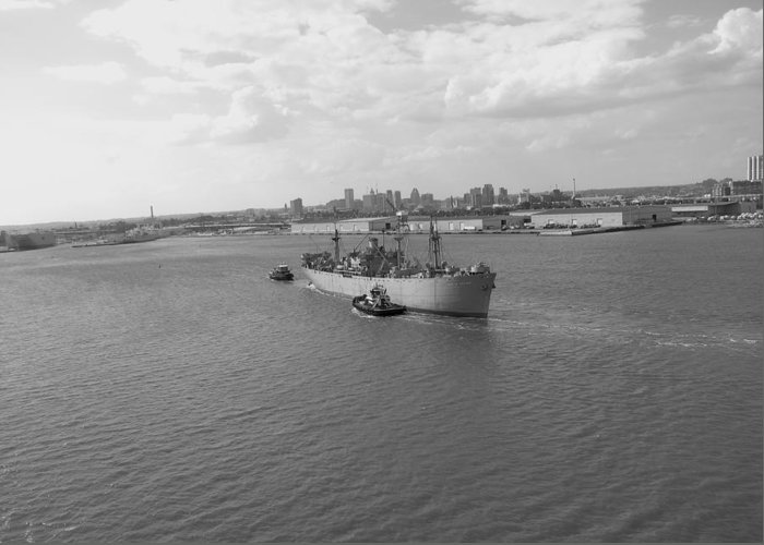 Ship Greeting Card featuring the photograph Baltimore Harbor In Black And White by Gordon Cain