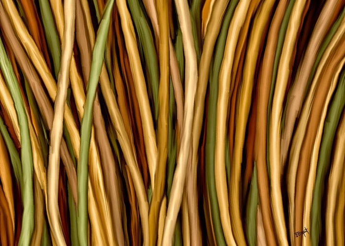 Bamboo Greeting Card featuring the painting Bamboo Canes by Brenda Bryant