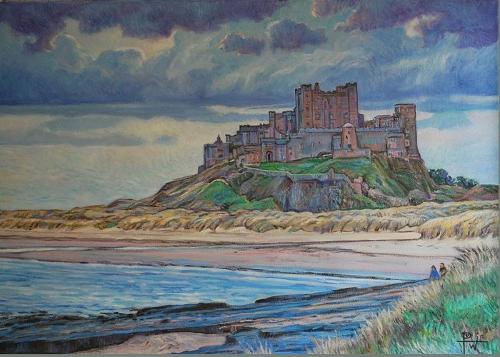 Bamburgh Greeting Card featuring the painting Bamburgh by Henry Potwin
