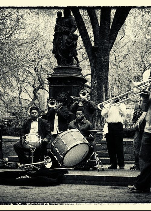 Filmnoir Greeting Card featuring the photograph Band On Union Square New York City by Sabine Jacobs