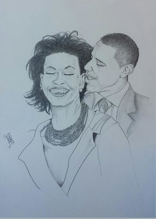 Michelle And Barrack Obama Greeting Card featuring the drawing Bandmo by DMo Her