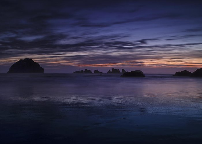 Beach Greeting Card featuring the photograph Bandon Beach At Twilight by Andrew Soundarajan