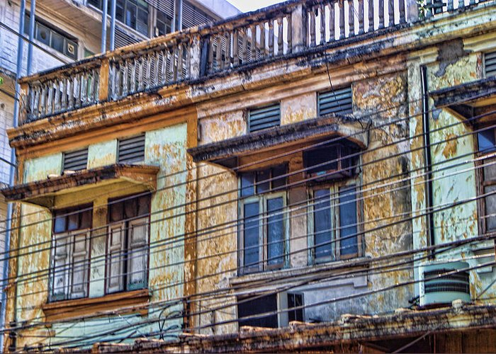 Architecture Greeting Card featuring the photograph Bangkok Slum Housing by Linda Phelps