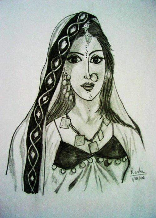 Woman Greeting Card featuring the painting Banjaran - Indian Village Woman by Rashi Chaturvedi