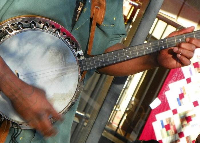 Musicians Greeting Card featuring the photograph Banjo by Bernie Smolnik