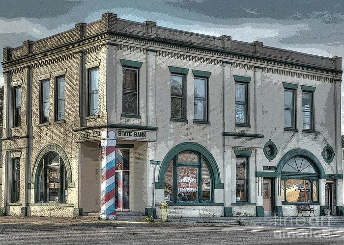 Mj Olsen Greeting Card featuring the photograph Bank To Barbershop by MJ Olsen