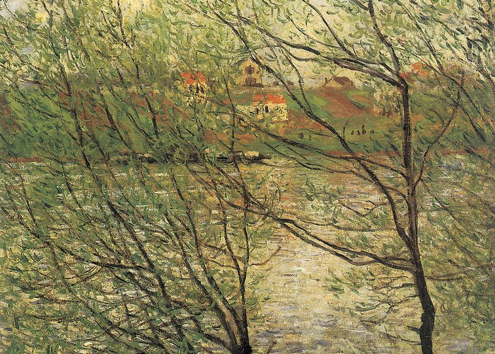 Banks Of The Seine Greeting Card featuring the painting Banks Of The Seine Island Of La Grande Jatte by Claude Monet