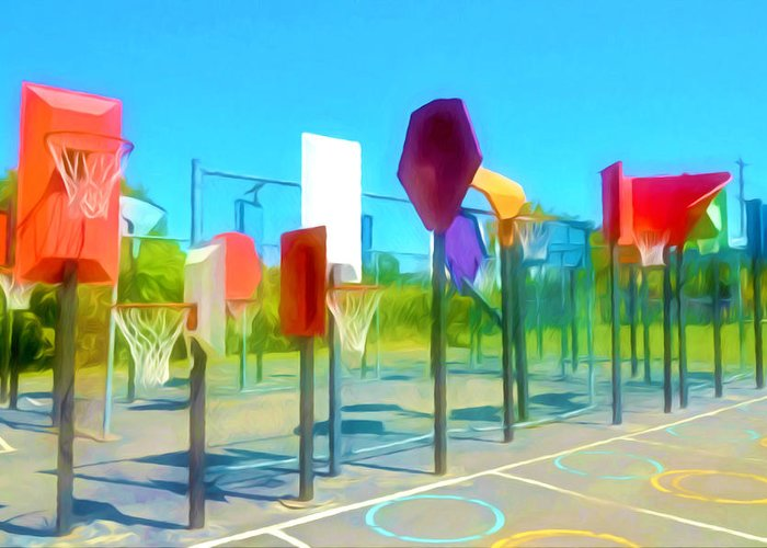 Bankshot Basketball Greeting Card featuring the painting Bankshot Basketball 1 by Lanjee Chee