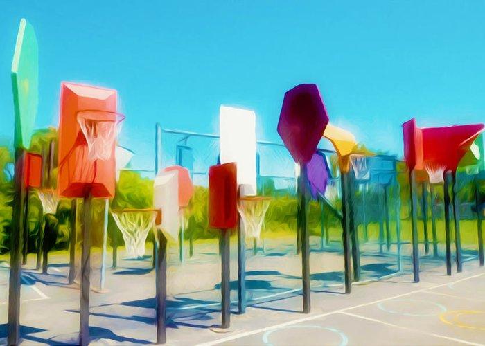 Bankshot Basketball Greeting Card featuring the painting Bankshot Basketball 2 by Lanjee Chee