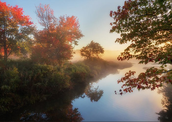 Smooth Water Greeting Card featuring the photograph Bantam River Sunrise by Bill Wakeley