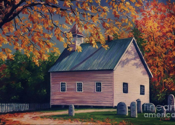 Tennessee Greeting Card featuring the painting Baptist Church Cades Cove by John Clark