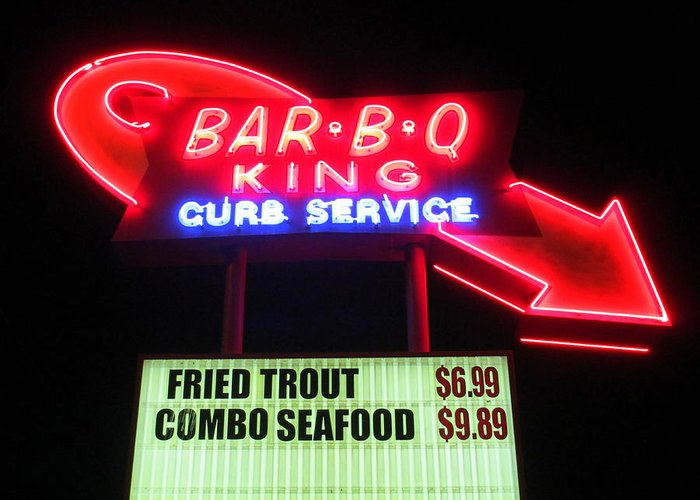 Barbeque Greeting Card featuring the photograph Bar B Q King In Charlotte N C by Randall Weidner