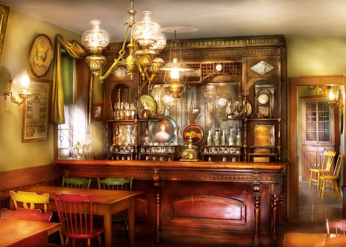 Savad Greeting Card featuring the photograph Bar - Bar And Tavern by Mike Savad