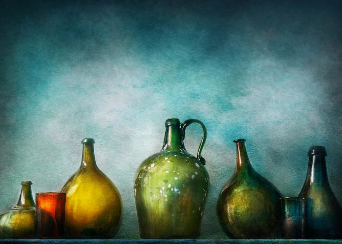 Jug Greeting Card featuring the photograph Bar - Bottles - Green Bottles by Mike Savad