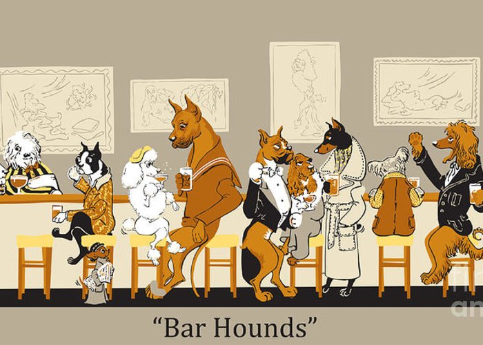 barhounds Greeting Card featuring the mixed media Bar Hounds by Constance Depler