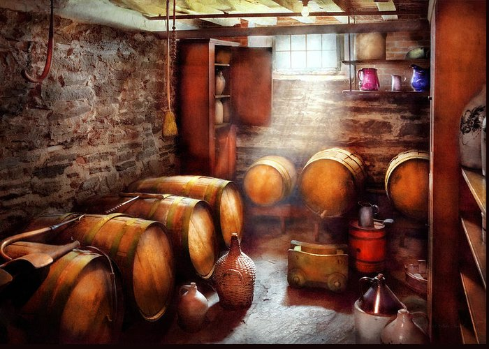 Suburbanscenes Greeting Card featuring the photograph Bar - Wine - The Wine Cellar by Mike Savad