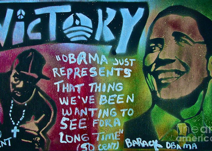 Barack Obama Greeting Card featuring the painting Barack And Fifty Cent by Tony B Conscious