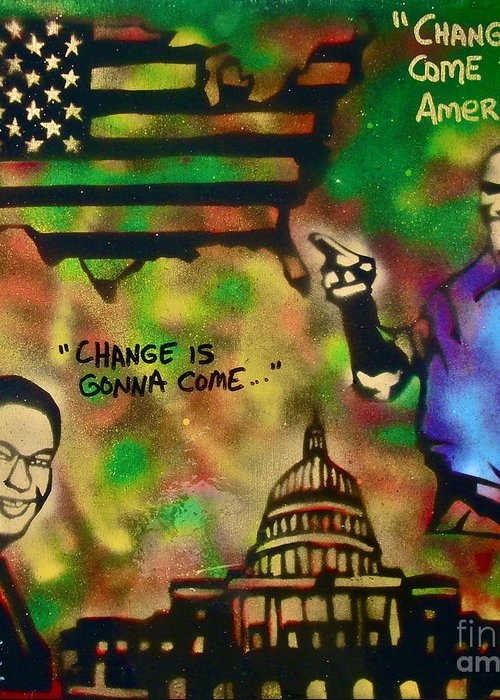 Barack Obama Greeting Card featuring the painting Barack And Sam Cooke by Tony B Conscious