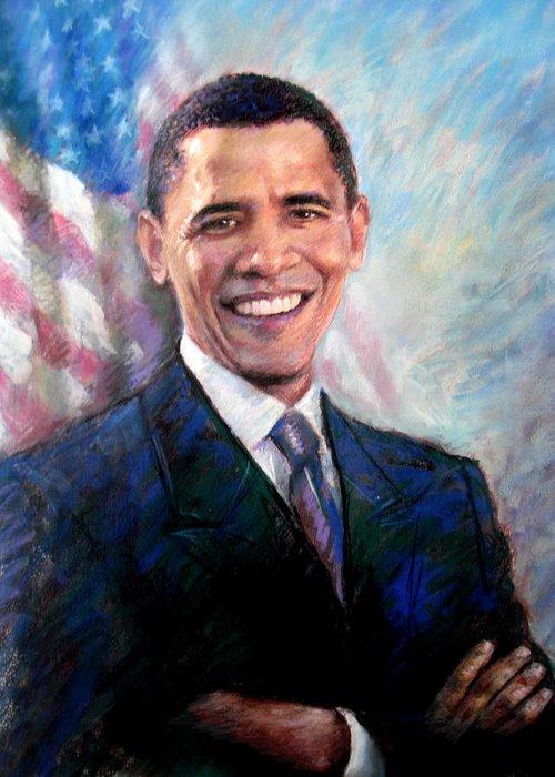 Barack Obama Greeting Card featuring the drawing Barack Obama by Viola El