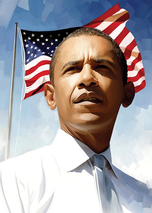 Barack Obama Paintings Greeting Card featuring the painting Barack Obama Artwork 1 by Sheraz A