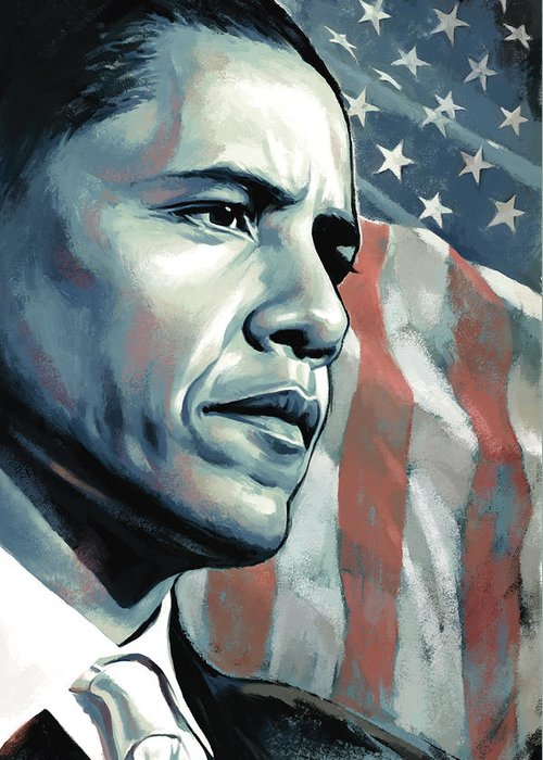 Barack Obama Paintings Greeting Card featuring the painting Barack Obama Artwork 2 B by Sheraz A