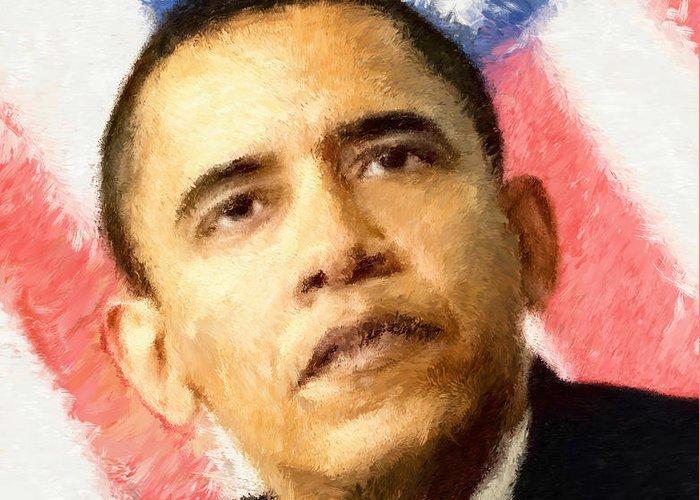 Obama Portrait. Obama Rally Greeting Cards