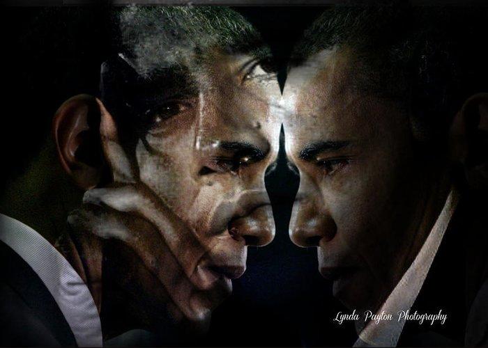 Barack Obama Greeting Card featuring the digital art Barack Obama - by Lynda Payton