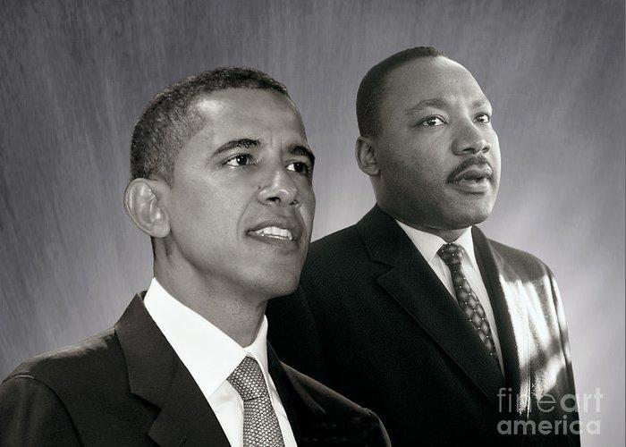 Barack Obama Greeting Card featuring the photograph Barack Obama M L King by Martin Konopacki Restoration