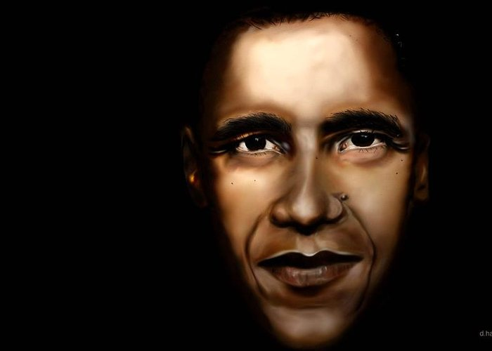 Digital Greeting Card featuring the painting Barack Obama - New Day by Anthony Anthony ICONS