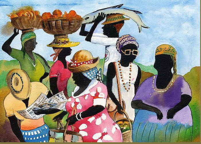 Val Byrne Greeting Card featuring the painting Barbados Market 3 Wi by Val Byrne