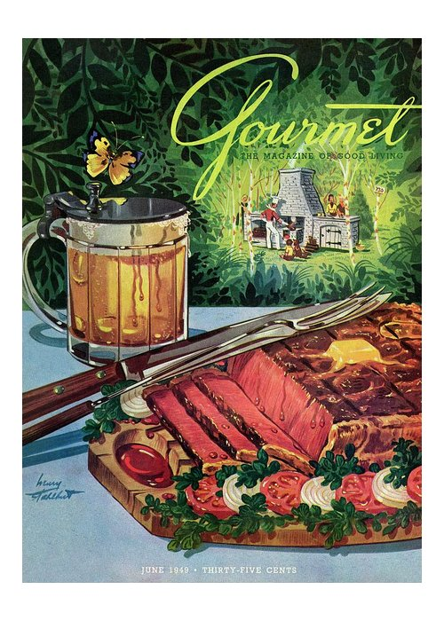 Food Greeting Card featuring the photograph Barbeque Meat And A Mug Of Beer by Henry Stahlhut