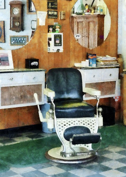 Barber Greeting Card featuring the photograph Barber - Barber Shop One Chair by Susan Savad