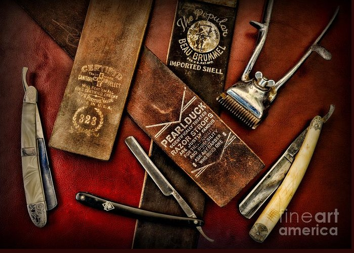 Barber - Vintage Barber Greeting Card featuring the photograph Barber - Barber Tools Of The Trade by Paul Ward