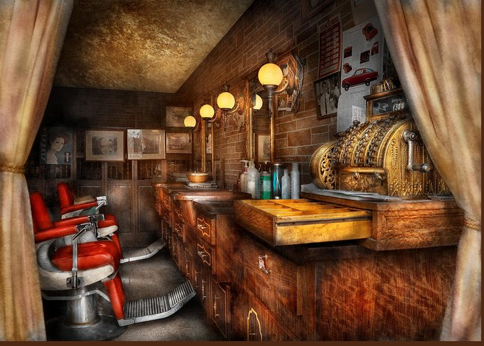 Barber Greeting Card featuring the photograph Barber - Closed On Sundays by Mike Savad