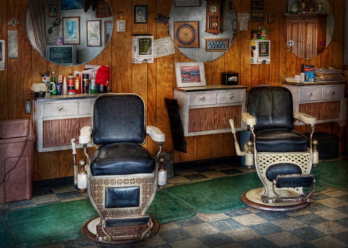 Barber Greeting Card featuring the photograph Barber - Frenchtown Nj - Two Old Barber Chairs by Mike Savad