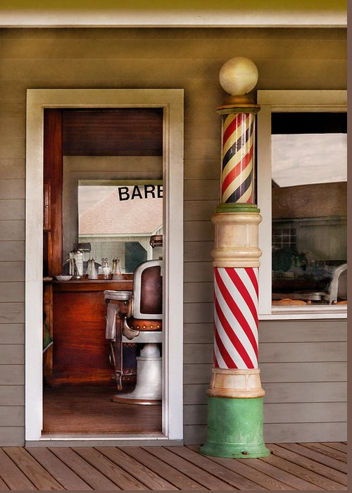 Barber Greeting Card featuring the photograph Barber - I Need A Hair Cut by Mike Savad