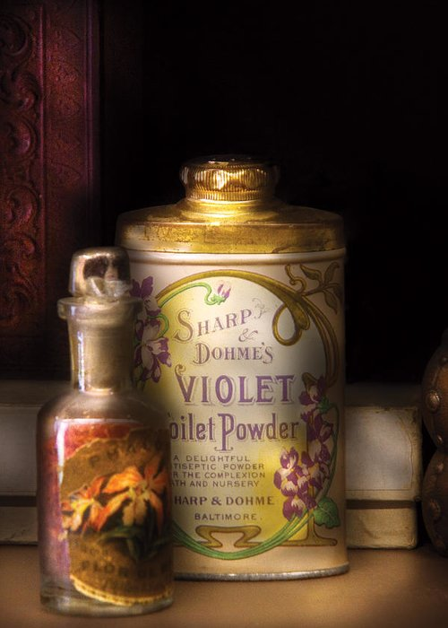 Savad Greeting Card featuring the photograph Barber - Sharp And Dohmes Violet Toilet Powder by Mike Savad