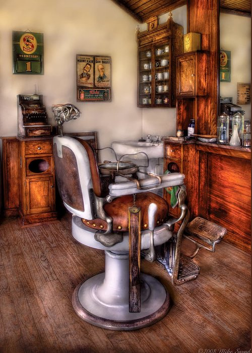 Barber Greeting Card featuring the photograph Barber - The Barber Chair by Mike Savad