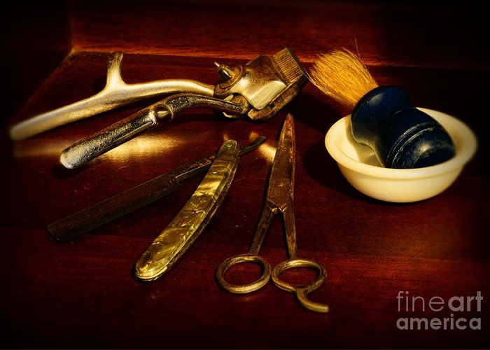 Barber - Things In A Barber Shop Greeting Card featuring the photograph Barber - Things In A Barber Shop by Paul Ward
