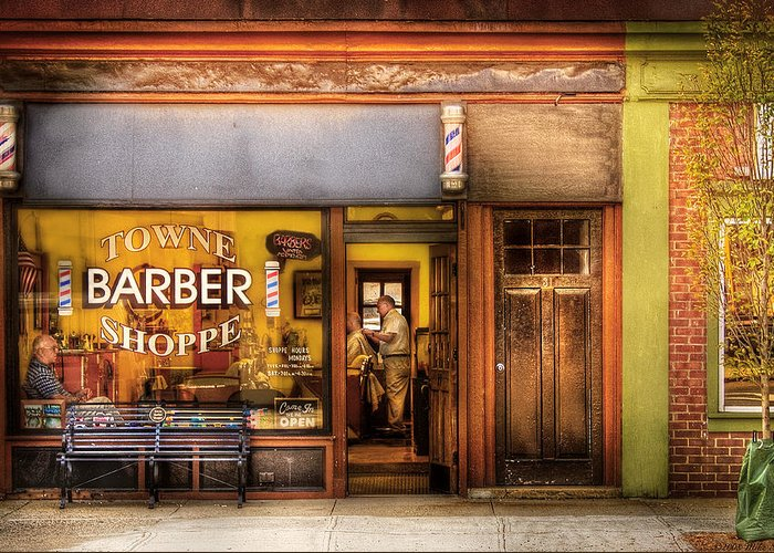 Hair Greeting Card featuring the photograph Barber - Towne Barber Shop by Mike Savad