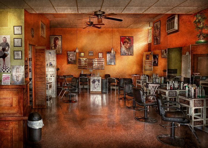 Barber Greeting Card featuring the photograph Barber - Union Nj - The Modern Salon by Mike Savad