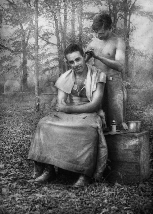Barber Greeting Card featuring the photograph Barber - Wwii - Gi Haircut by Mike Savad