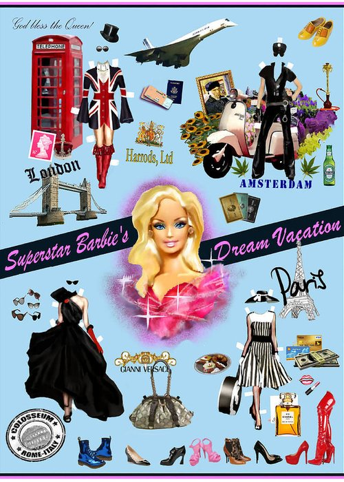 Shopping Greeting Card featuring the digital art Barbie's Superstar Dream Vacation by Jann Paxton