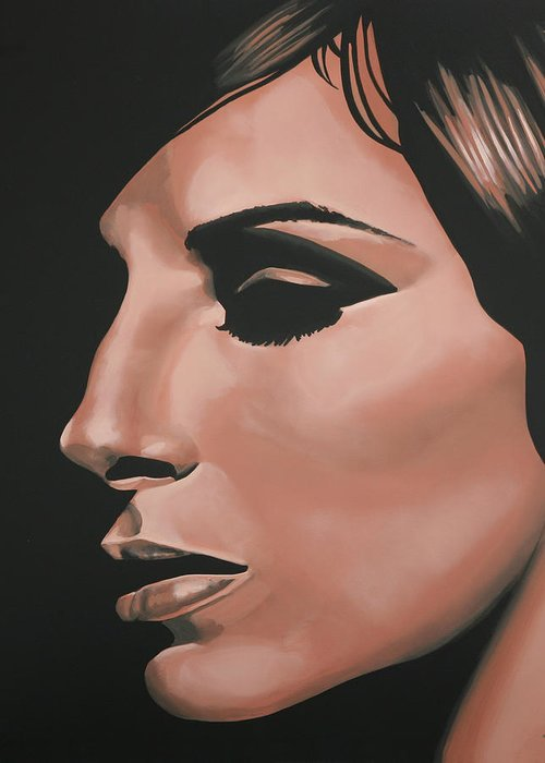 Barbra Streisand Greeting Card featuring the painting Barbra Streisand by Paul Meijering