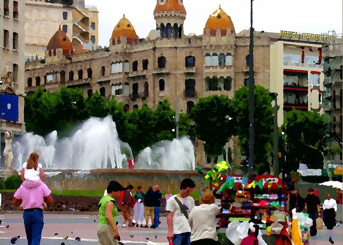 Barcelona Greeting Card featuring the photograph Barcelona - Abstract - Plaza De Catalunia by Jacqueline M Lewis