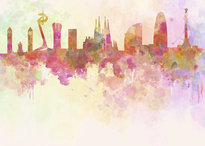 Barcelona Greeting Card featuring the digital art Barcelona Skyline In Watercolour Background by Pablo Romero