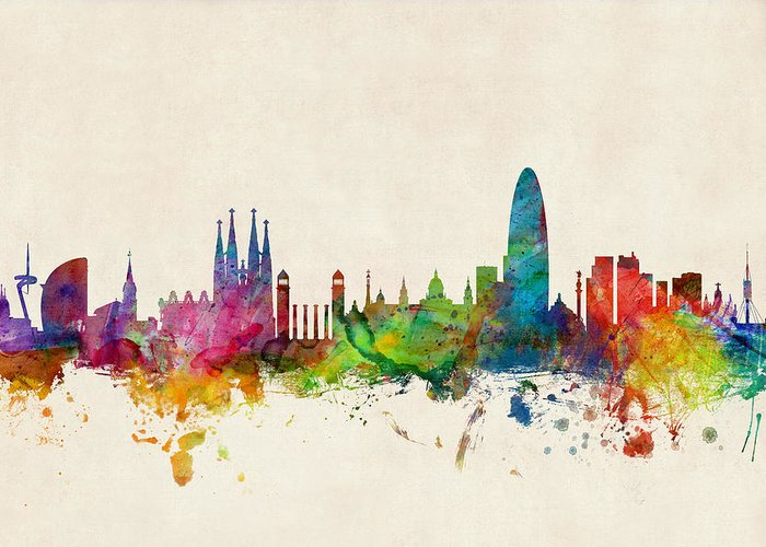 Barcelona Digital Art Greeting Cards