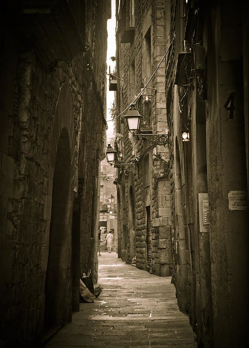 Barcelona Greeting Card featuring the photograph Barcelona Street by Mesha Zelkovich