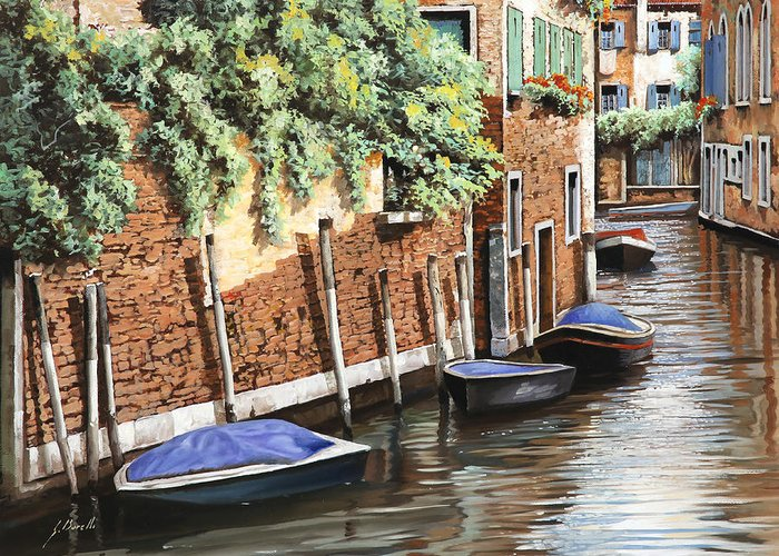 Landscape Greeting Card featuring the painting Barche A Venezia by Guido Borelli